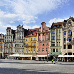 Facades of old historic tenements on Rynek (Market Square) in Wroclaw (Breslau), Poland