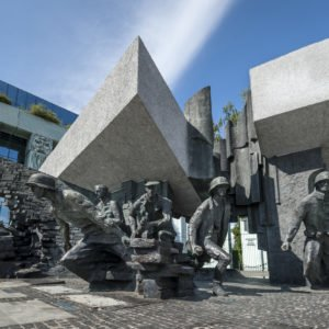 Warsaw Uprising Monument in Warsaw, Poland during summer time.