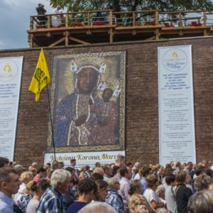 Czestochowa, Poland, 26 August 2017: Jubilee 300 of anniversary of the coronation of the image of the Mother of God of Czestochowska with papal crowns. Living Crown of Mary - Image on walls taken off sent photographs