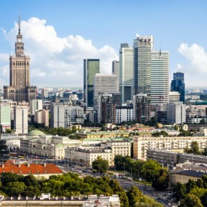 Warsaw business district. Aerial View.